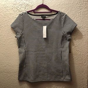 Ann Taylor black and white stripped top